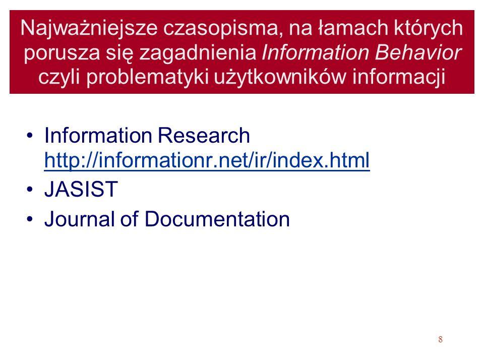 9 Konferencje z zakresu Information Behavior czyli problematyki użytkowników informacji Cykl konferencji ISIC: the information behaviour conference http://informationr.net/isic/papers.html http://informationr.net/isic/papers.html –Dostępne są pełne teksty referatów