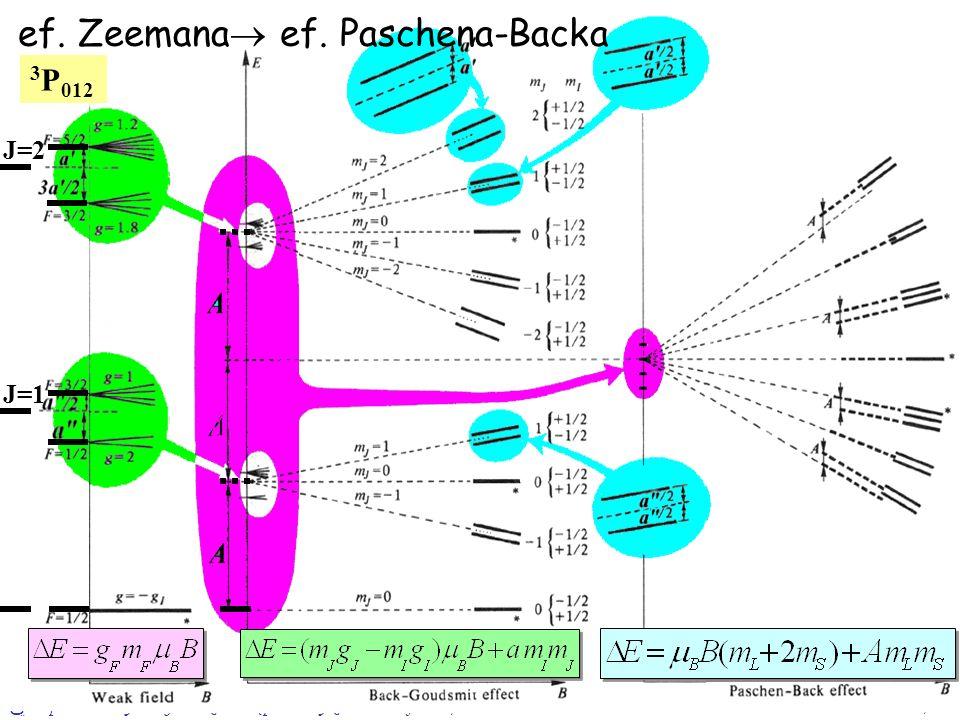 Oparte o: Prof.W. Gawlik – Wstęp do Fizyki Atomowej, 2004/0510/16 J=0 ef. Zeemana ef. Paschena-Backa J=2 J=1 3 P 012
