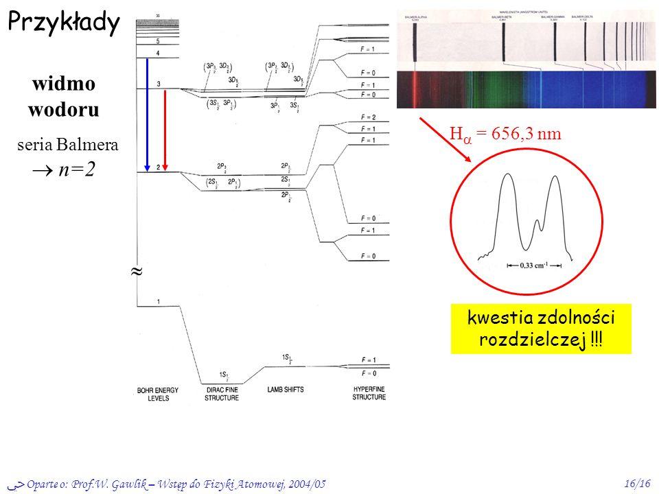 Oparte o: Prof.W. Gawlik – Wstęp do Fizyki Atomowej, 2004/0516/16 Przykłady kwestia zdolności rozdzielczej !!! H = 656,3 nm widmo wodoru seria Balmera