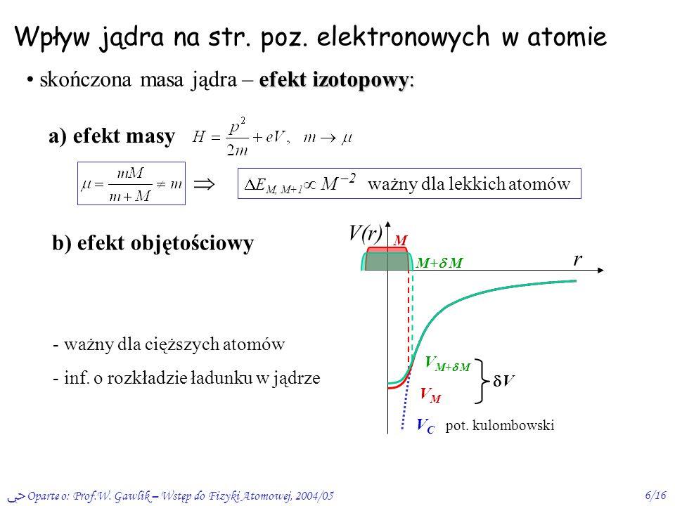 Oparte o: Prof.W. Gawlik – Wstęp do Fizyki Atomowej, 2004/056/16 Wpływ jądra na str. poz. elektronowych w atomie efekt izotopowy: skończona masa jądra