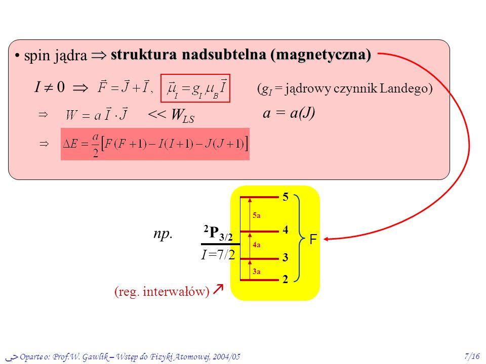 Oparte o: Prof.W. Gawlik – Wstęp do Fizyki Atomowej, 2004/057/16 struktura nadsubtelna (magnetyczna) struktura nadsubtelna (magnetyczna) spin jądra I