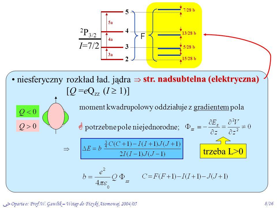 Oparte o: Prof.W.Gawlik – Wstęp do Fizyki Atomowej, 2004/059/16 Efekt Zeemana struktury nsbt.– ef.