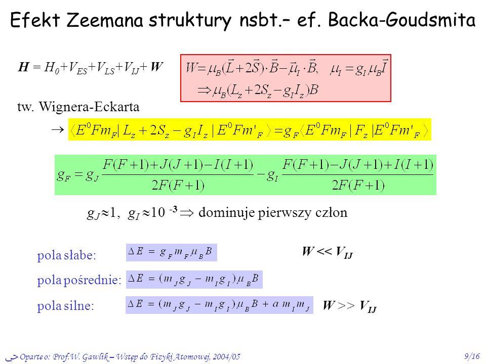 Oparte o: Prof.W. Gawlik – Wstęp do Fizyki Atomowej, 2004/059/16 Efekt Zeemana struktury nsbt.– ef. Backa-Goudsmita H = H 0 +V ES +V LS +V IJ + W tw.