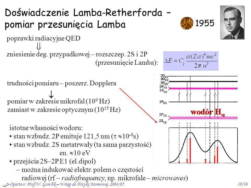 Oparte o: Prof.W. Gawlik – Wstęp do Fizyki Atomowej, 2004/0510/16 Doświadczenie Lamba-Retherforda – pomiar przesunięcia Lamba 1955 pomiar w zakresie m