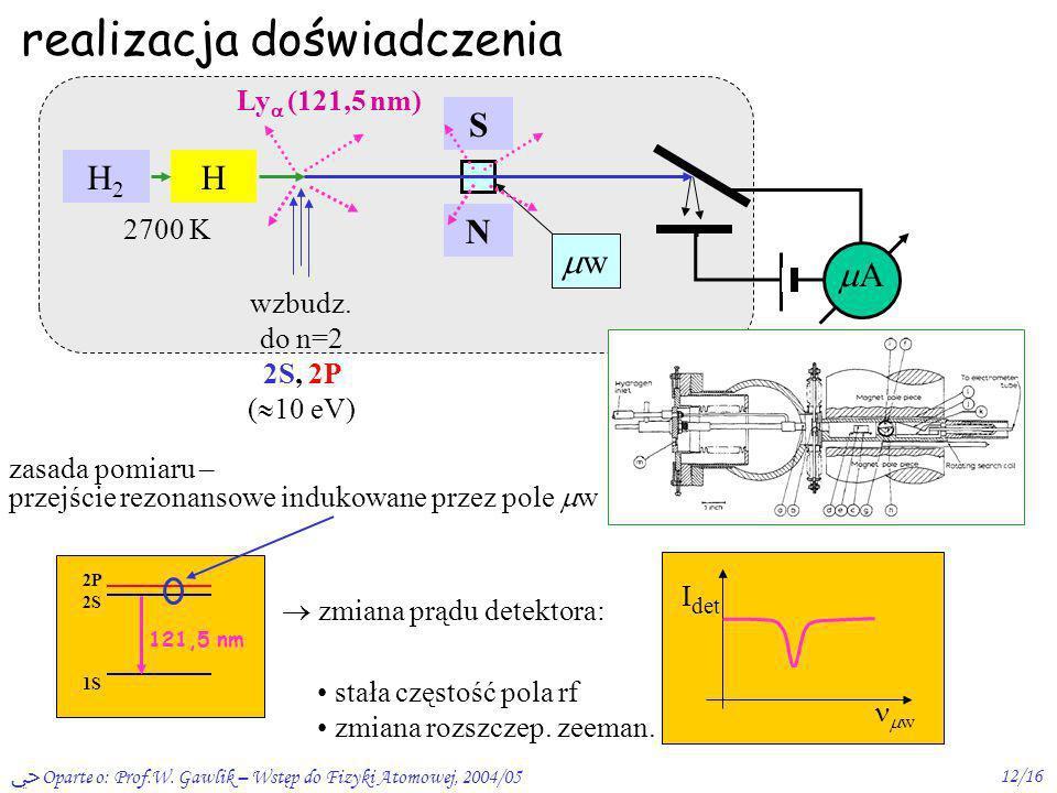 Oparte o: Prof.W. Gawlik – Wstęp do Fizyki Atomowej, 2004/0512/16 realizacja doświadczenia H2H2 H 2700 K wzbudz. do n=2 2S, 2P ( 10 eV) Ly (121,5 nm)