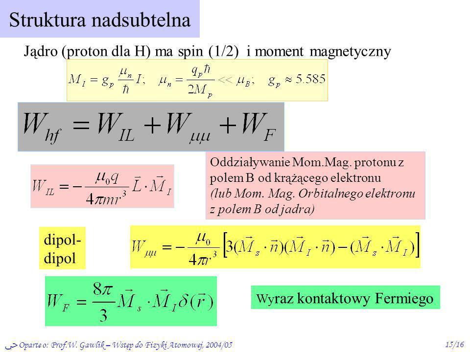 Oparte o: Prof.W. Gawlik – Wstęp do Fizyki Atomowej, 2004/0515/16 Struktura nadsubtelna Jądro (proton dla H) ma spin (1/2) i moment magnetyczny Oddzia
