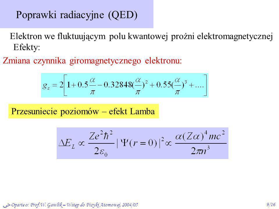 Oparte o: Prof.W. Gawlik – Wstęp do Fizyki Atomowej, 2004/059/16 Poprawki radiacyjne (QED) Elektron we fluktuującym polu kwantowej prożni elektromagne