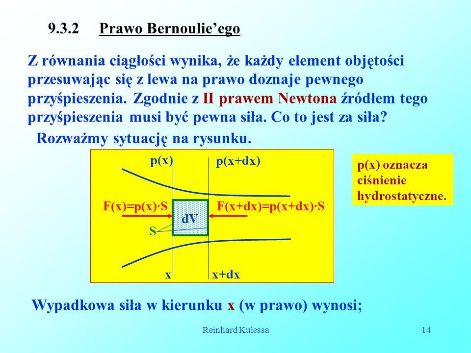 Reinhard Kulessa14 9.3.2 Prawo Bernoulieego Z równania ciągłości wynika, że każdy element objętości przesuwając się z lewa na prawo doznaje pewnego pr