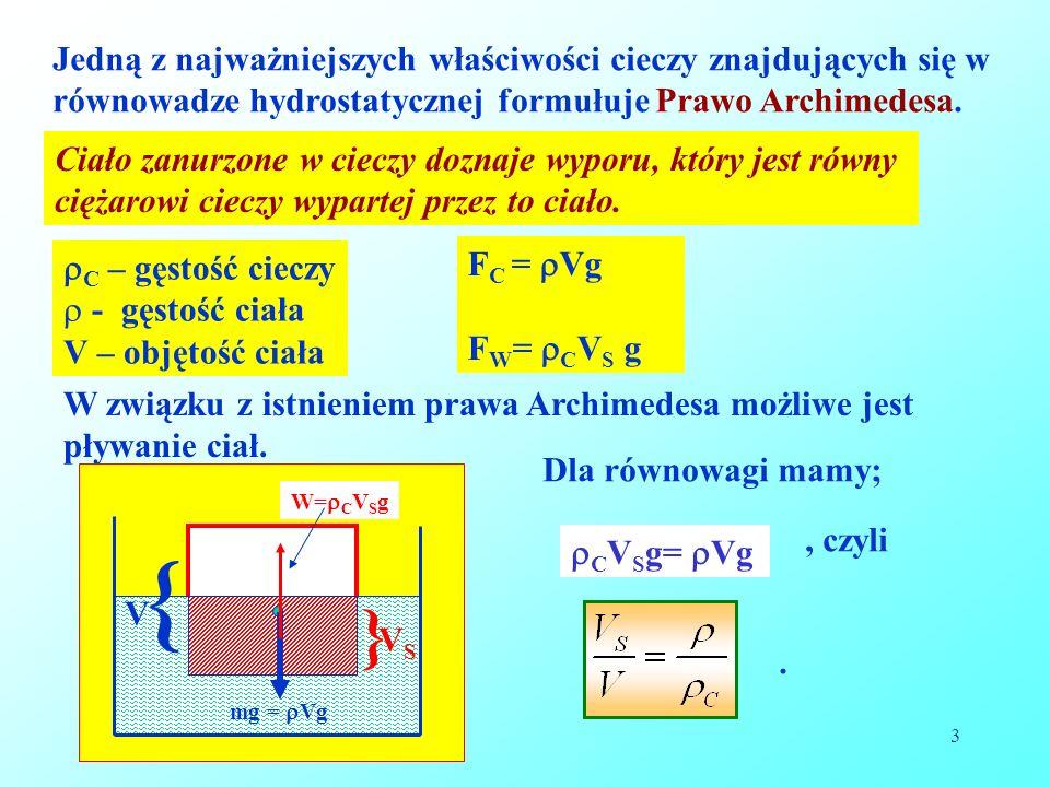 3 Jedną z najważniejszych właściwości cieczy znajdujących się w równowadze hydrostatycznej formułuje Prawo Archimedesa. Ciało zanurzone w cieczy dozna