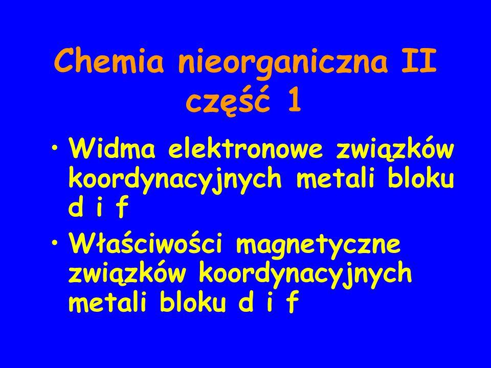 Chemia nieorganiczna II część 1 Widma elektronowe związków koordynacyjnych metali bloku d i f Właściwości magnetyczne związków koordynacyjnych metali