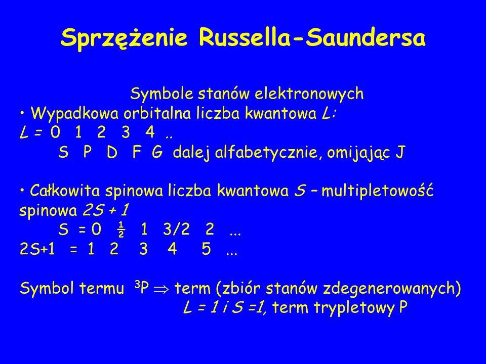Symbole stanów elektronowych Wypadkowa orbitalna liczba kwantowa L: L = 0 1 2 3 4.. S P D F G dalej alfabetycznie, omijając J Całkowita spinowa liczba