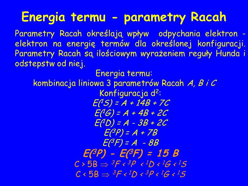 Energia termu - parametry Racah Parametry Racah określają wpływ odpychania elektron - elektron na energię termów dla określonej konfiguracji. Parametr