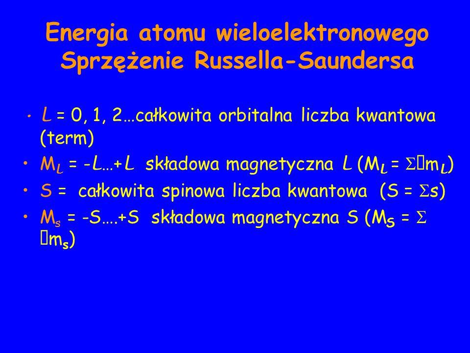 Energia atomu wieloelektronowego Sprzężenie Russella-Saundersa L = 0, 1, 2…całkowita orbitalna liczba kwantowa (term) M L = - L …+ L składowa magnetyczna L (M L = m L ) S = całkowita spinowa liczba kwantowa (S = s) M s = -S….+S składowa magnetyczna S (M S = m s )