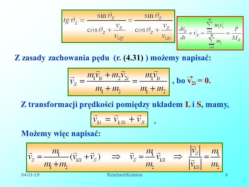 04-11-19Reinhard Kulessa7 Na zależność pomiędzy kątami rozproszenia w układzie laboratoryjnym L i w układzie środka masy S otrzymujemy:.(4.41) W przypadku zderzenia dwóch równych mas, mamy m 1 = m 2, czyli.