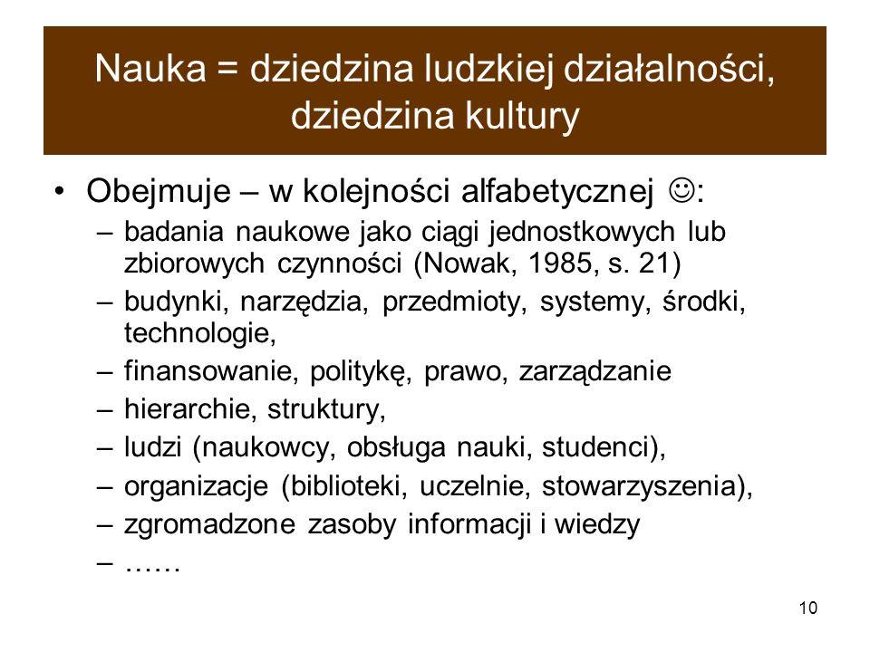 10 Nauka = dziedzina ludzkiej działalności, dziedzina kultury Obejmuje – w kolejności alfabetycznej : –badania naukowe jako ciągi jednostkowych lub zb