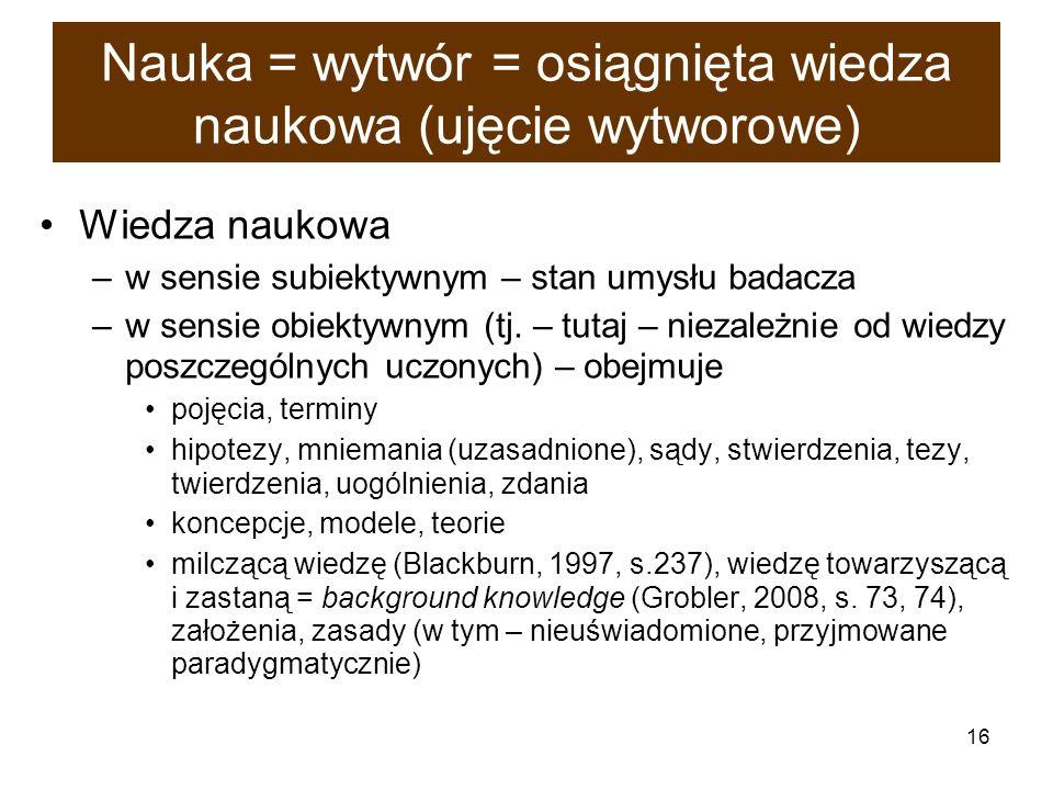 16 Nauka = wytwór = osiągnięta wiedza naukowa (ujęcie wytworowe) Wiedza naukowa –w sensie subiektywnym – stan umysłu badacza –w sensie obiektywnym (tj
