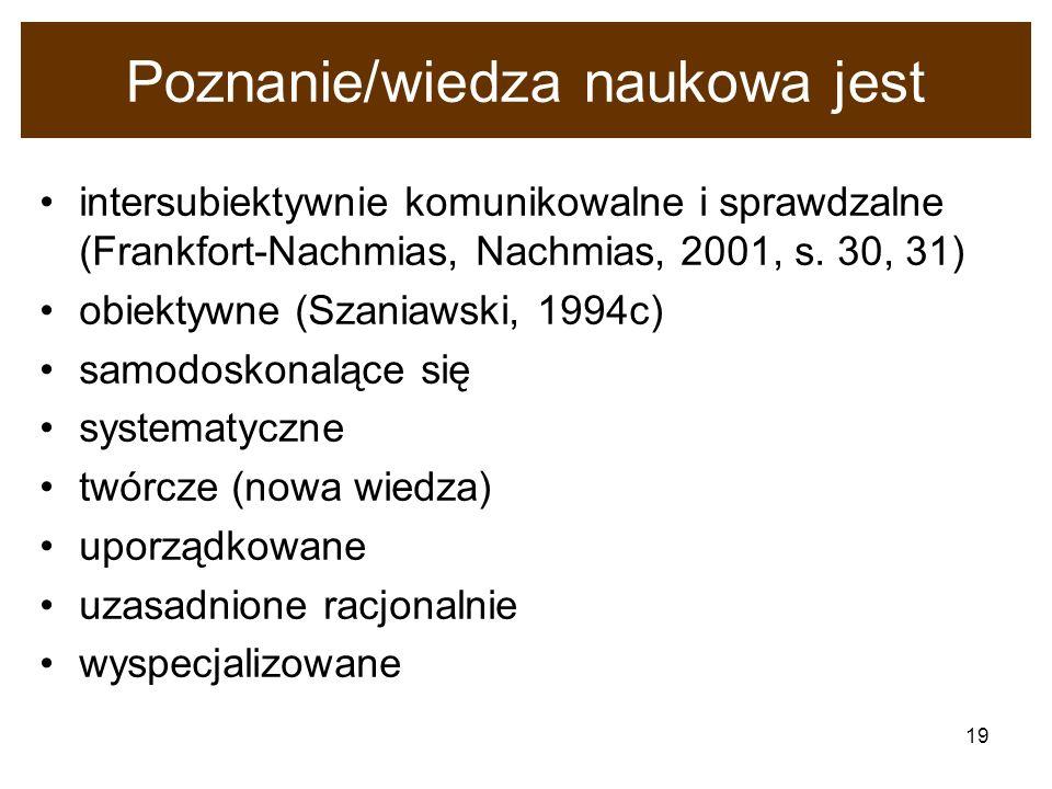 19 Poznanie/wiedza naukowa jest intersubiektywnie komunikowalne i sprawdzalne (Frankfort-Nachmias, Nachmias, 2001, s. 30, 31) obiektywne (Szaniawski,