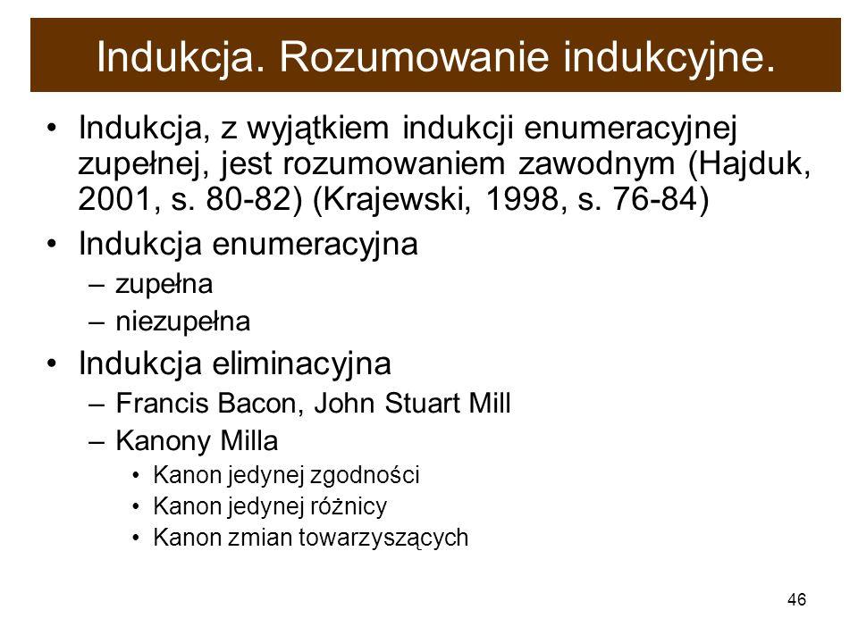46 Indukcja. Rozumowanie indukcyjne. Indukcja, z wyjątkiem indukcji enumeracyjnej zupełnej, jest rozumowaniem zawodnym (Hajduk, 2001, s. 80-82) (Kraje