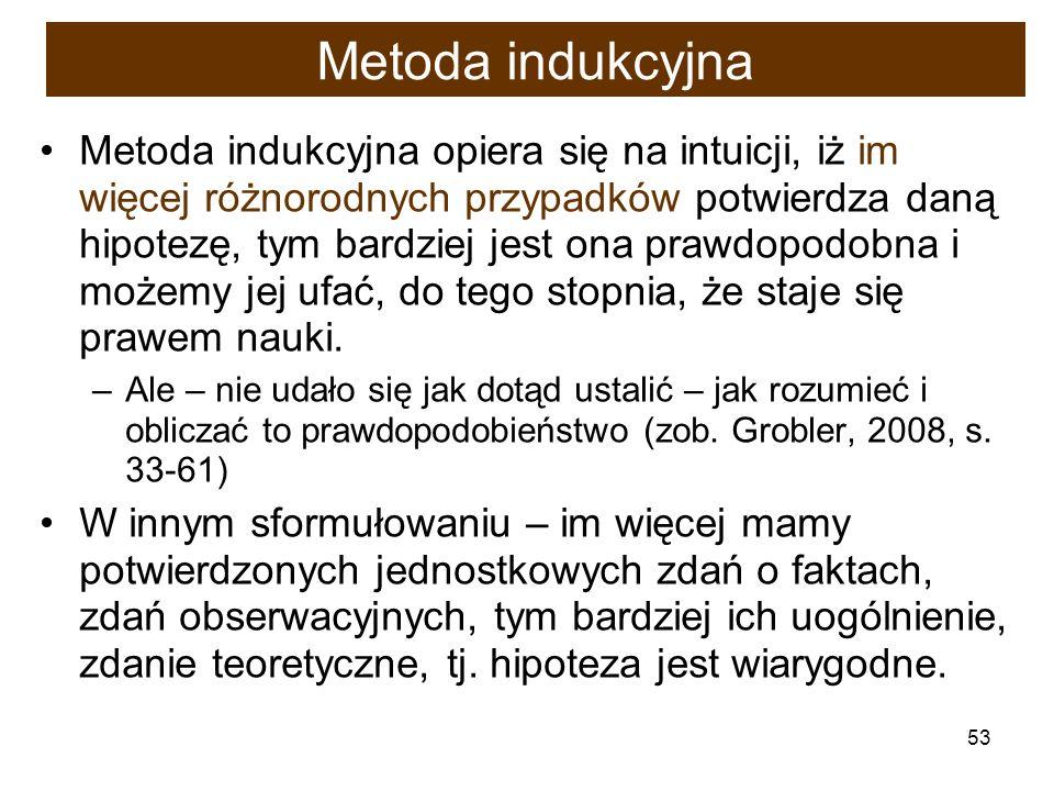 53 Metoda indukcyjna Metoda indukcyjna opiera się na intuicji, iż im więcej różnorodnych przypadków potwierdza daną hipotezę, tym bardziej jest ona pr