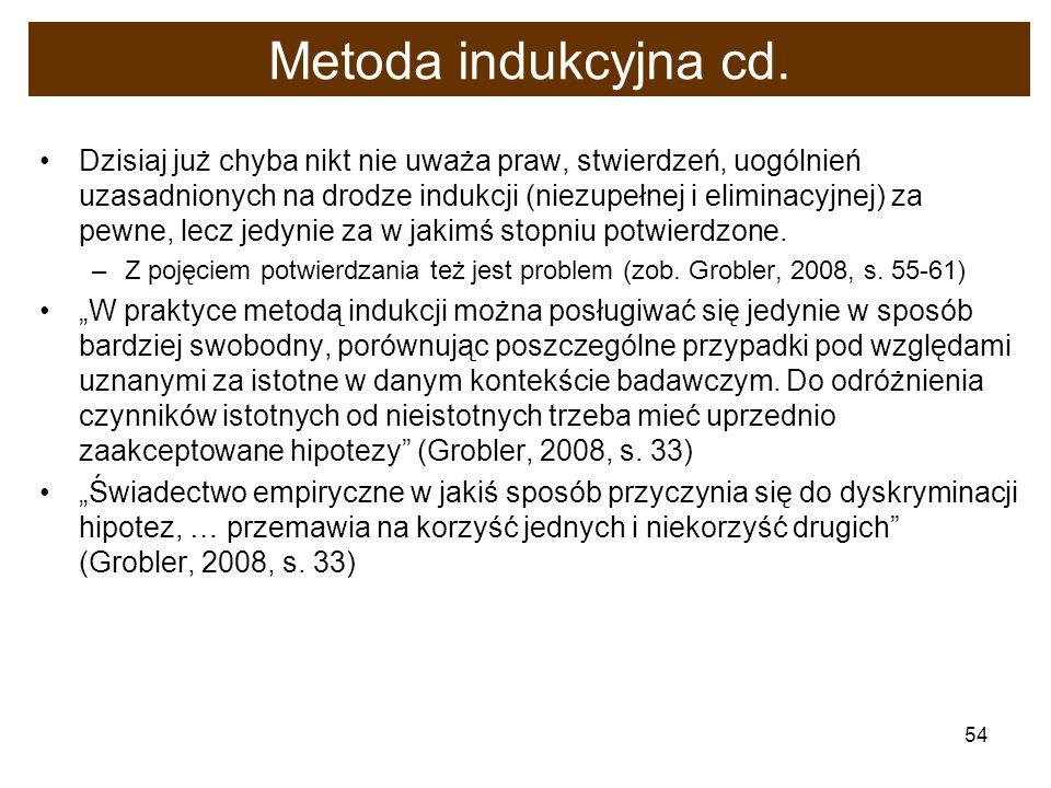 54 Metoda indukcyjna cd. Dzisiaj już chyba nikt nie uważa praw, stwierdzeń, uogólnień uzasadnionych na drodze indukcji (niezupełnej i eliminacyjnej) z