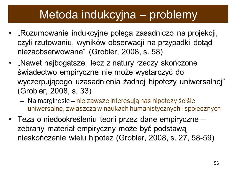 56 Metoda indukcyjna – problemy Rozumowanie indukcyjne polega zasadniczo na projekcji, czyli rzutowaniu, wyników obserwacji na przypadki dotąd niezaob