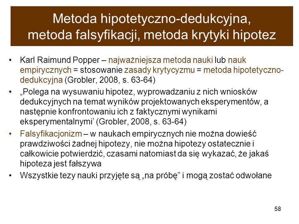 58 Metoda hipotetyczno-dedukcyjna, metoda falsyfikacji, metoda krytyki hipotez Karl Raimund Popper – najważniejsza metoda nauki lub nauk empirycznych