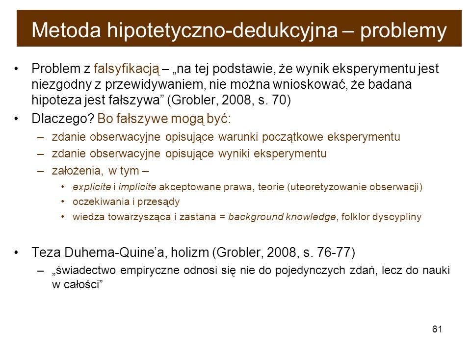 61 Metoda hipotetyczno-dedukcyjna – problemy Problem z falsyfikacją – na tej podstawie, że wynik eksperymentu jest niezgodny z przewidywaniem, nie moż