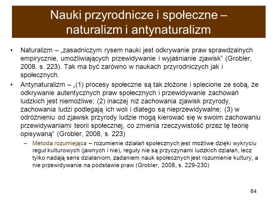 64 Nauki przyrodnicze i społeczne – naturalizm i antynaturalizm Naturalizm – zasadniczym rysem nauki jest odkrywanie praw sprawdzalnych empirycznie, u