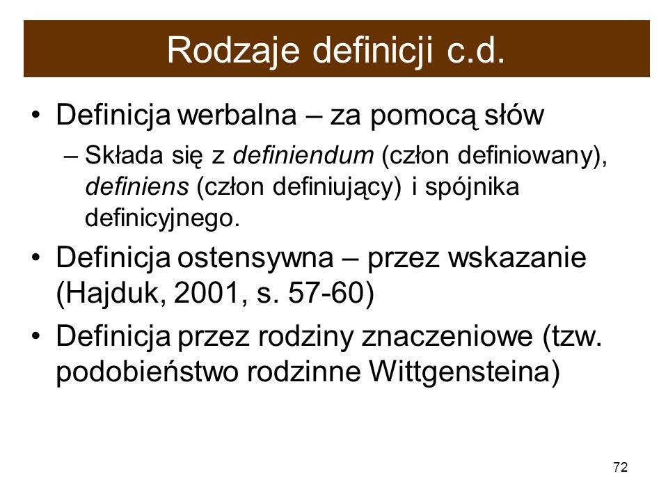 72 Rodzaje definicji c.d. Definicja werbalna – za pomocą słów –Składa się z definiendum (człon definiowany), definiens (człon definiujący) i spójnika