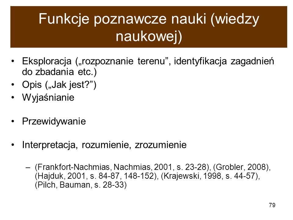 79 Funkcje poznawcze nauki (wiedzy naukowej) Eksploracja (rozpoznanie terenu, identyfikacja zagadnień do zbadania etc.) Opis (Jak jest?) Wyjaśnianie P