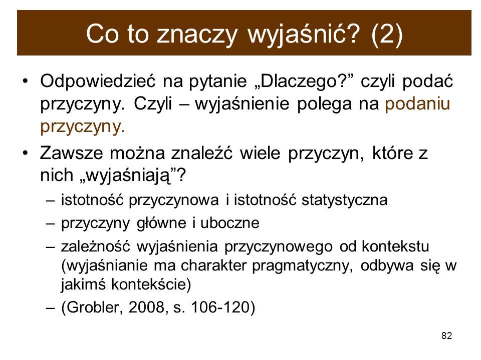 82 Co to znaczy wyjaśnić? (2) Odpowiedzieć na pytanie Dlaczego? czyli podać przyczyny. Czyli – wyjaśnienie polega na podaniu przyczyny. Zawsze można z