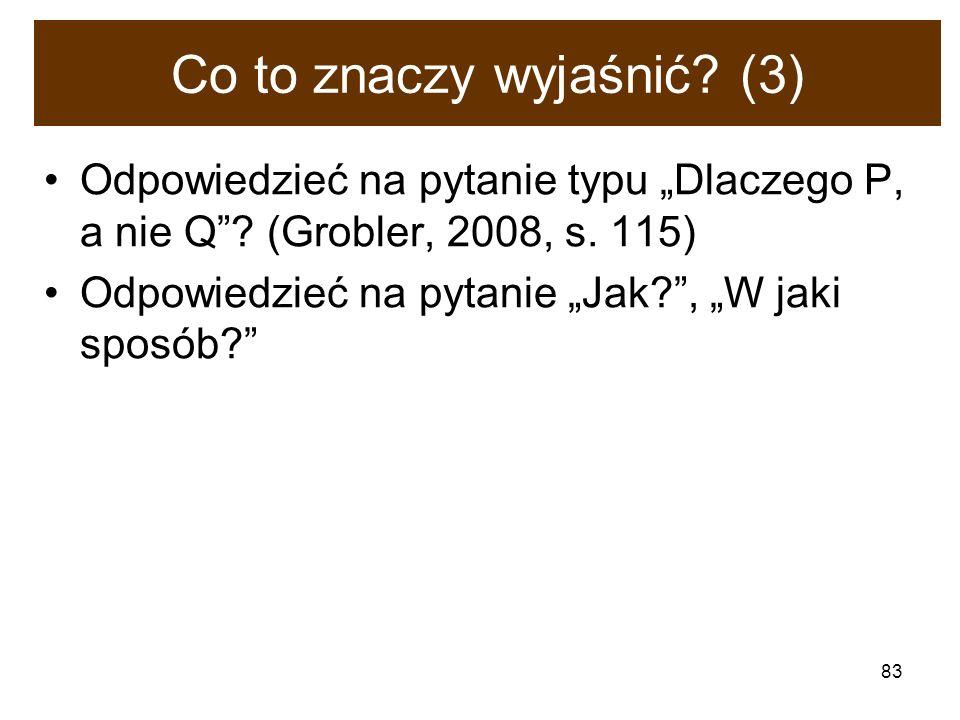 83 Co to znaczy wyjaśnić? (3) Odpowiedzieć na pytanie typu Dlaczego P, a nie Q? (Grobler, 2008, s. 115) Odpowiedzieć na pytanie Jak?, W jaki sposób?