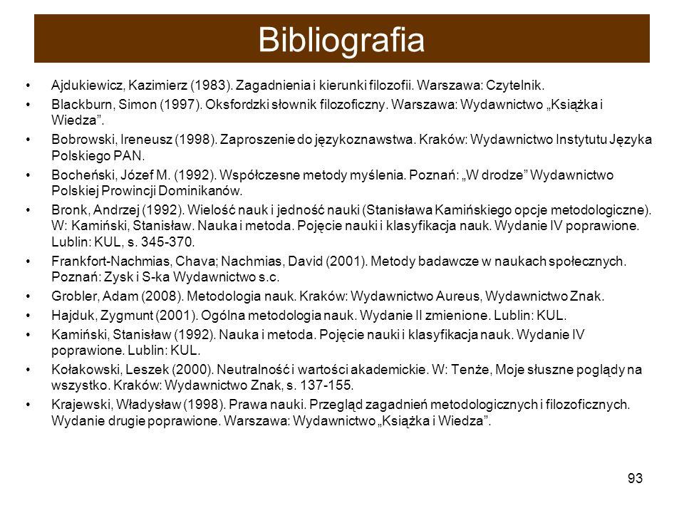93 Bibliografia Ajdukiewicz, Kazimierz (1983). Zagadnienia i kierunki filozofii. Warszawa: Czytelnik. Blackburn, Simon (1997). Oksfordzki słownik filo