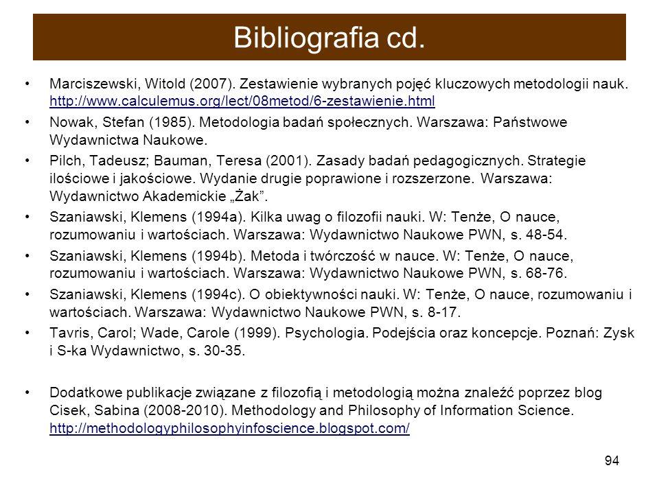 94 Bibliografia cd. Marciszewski, Witold (2007). Zestawienie wybranych pojęć kluczowych metodologii nauk. http://www.calculemus.org/lect/08metod/6-zes