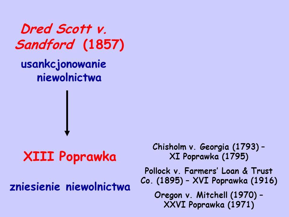 Dred Scott v. Sandford (1857) usankcjonowanie niewolnictwa XIII Poprawka zniesienie niewolnictwa Chisholm v. Georgia (1793) – XI Poprawka (1795) Pollo