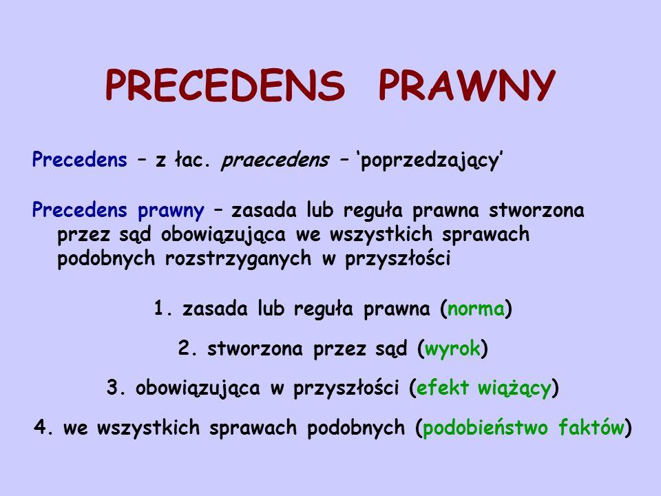 PRECEDENS PRAWNY Precedens – z łac. praecedens – poprzedzający Precedens prawny – zasada lub reguła prawna stworzona przez sąd obowiązująca we wszystk