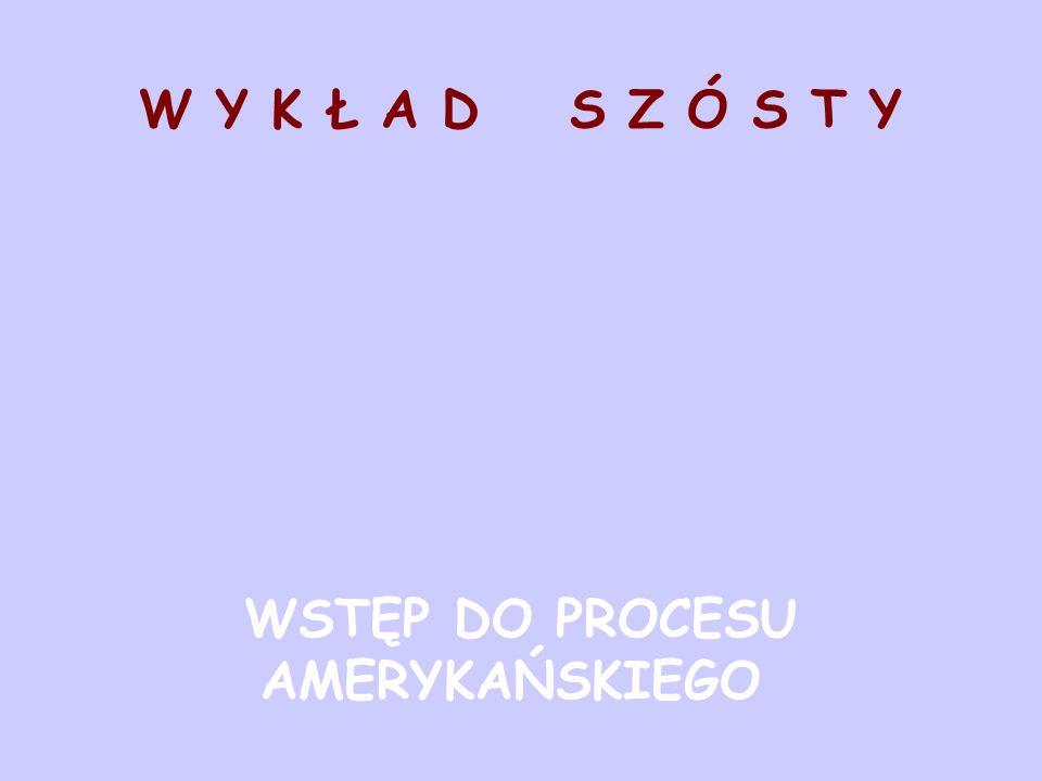 W Y K Ł A D S Z Ó S T Y WSTĘP DO PROCESU AMERYKAŃSKIEGO