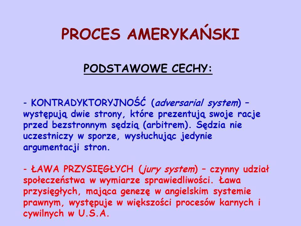 PROCES AMERYKAŃSKI PODSTAWOWE CECHY: - KONTRADYKTORYJNOŚĆ (adversarial system) – występują dwie strony, które prezentują swoje racje przed bezstronnym
