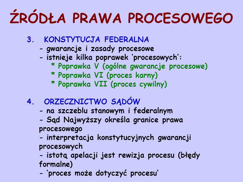 ŹRÓDŁA PRAWA PROCESOWEGO 3. KONSTYTUCJA FEDERALNA - gwarancje i zasady procesowe - istnieje kilka poprawek procesowych: * Poprawka V (ogólne gwarancje