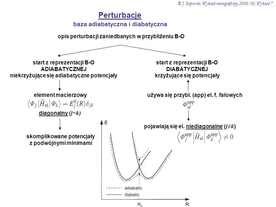 Perturbacje baza adiabatyczna i diabatyczna opis perturbacji zaniedbanych w przybliżeniu B-O start z reprezentacji B-O ADIABATYCZNEJ niekrzyżujące się