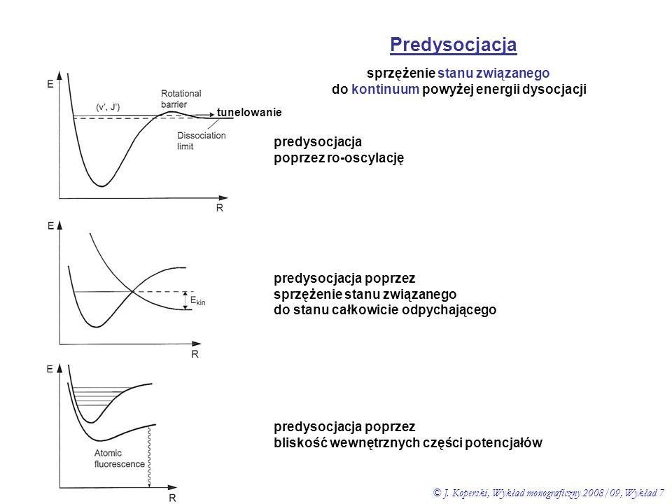 Predysocjacja sprzężenie stanu związanego do kontinuum powyżej energii dysocjacji predysocjacja poprzez sprzężenie stanu związanego do stanu całkowici