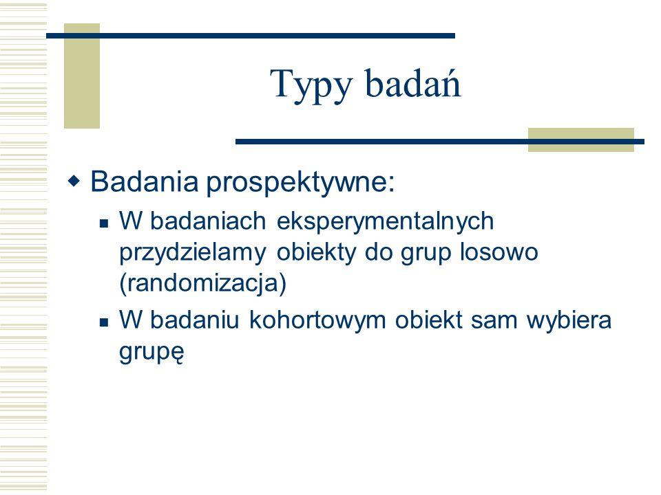 Typy badań Badania prospektywne: W badaniach eksperymentalnych przydzielamy obiekty do grup losowo (randomizacja) W badaniu kohortowym obiekt sam wybiera grupę