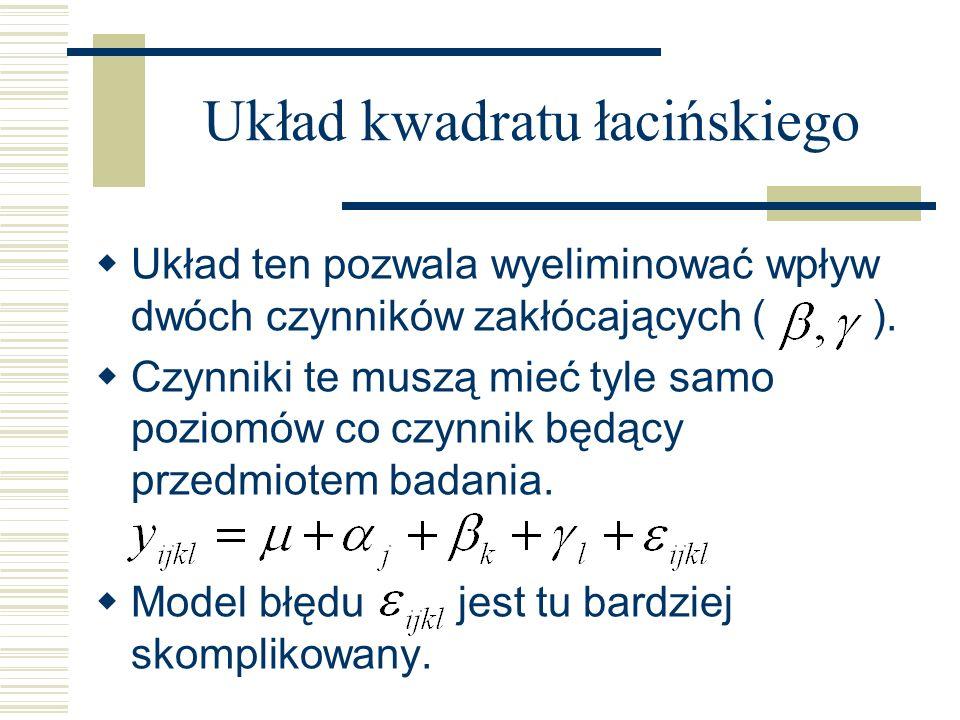 Układ kwadratu łacińskiego Układ ten pozwala wyeliminować wpływ dwóch czynników zakłócających ( ). Czynniki te muszą mieć tyle samo poziomów co czynni
