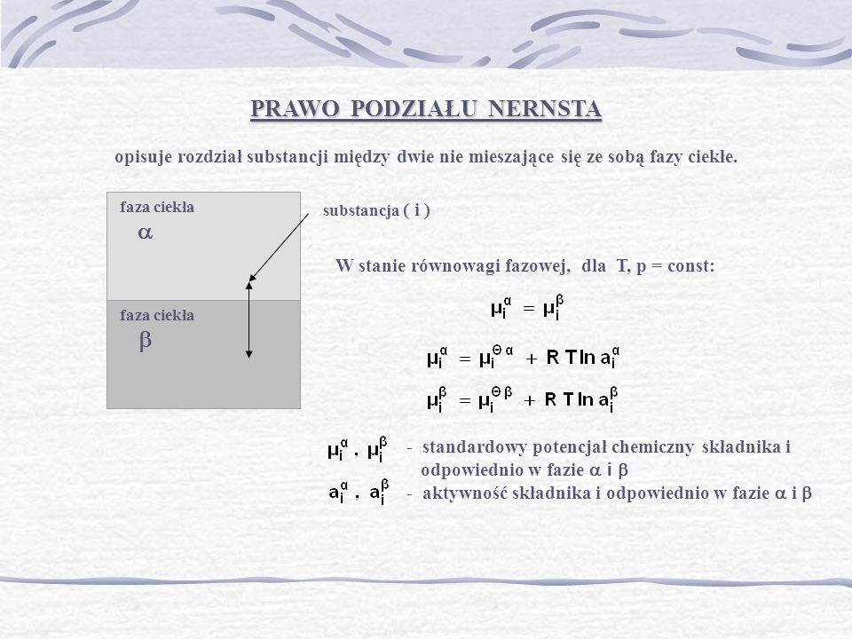 faza ciekła faza ciekła PRAWO PODZIAŁU NERNSTA opisuje rozdział substancji między dwie nie mieszające się ze sobą fazy ciekłe. substancja ( i ) W stan