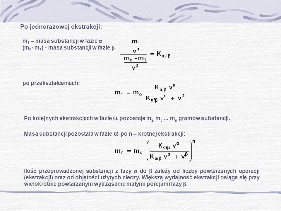 Po jednorazowej ekstrakcji: m 1 – masa substancji w fazie (m 0 - m 1 ) - masa substancji w fazie po przekształceniach: Po kolejnych ekstrakcjach w faz