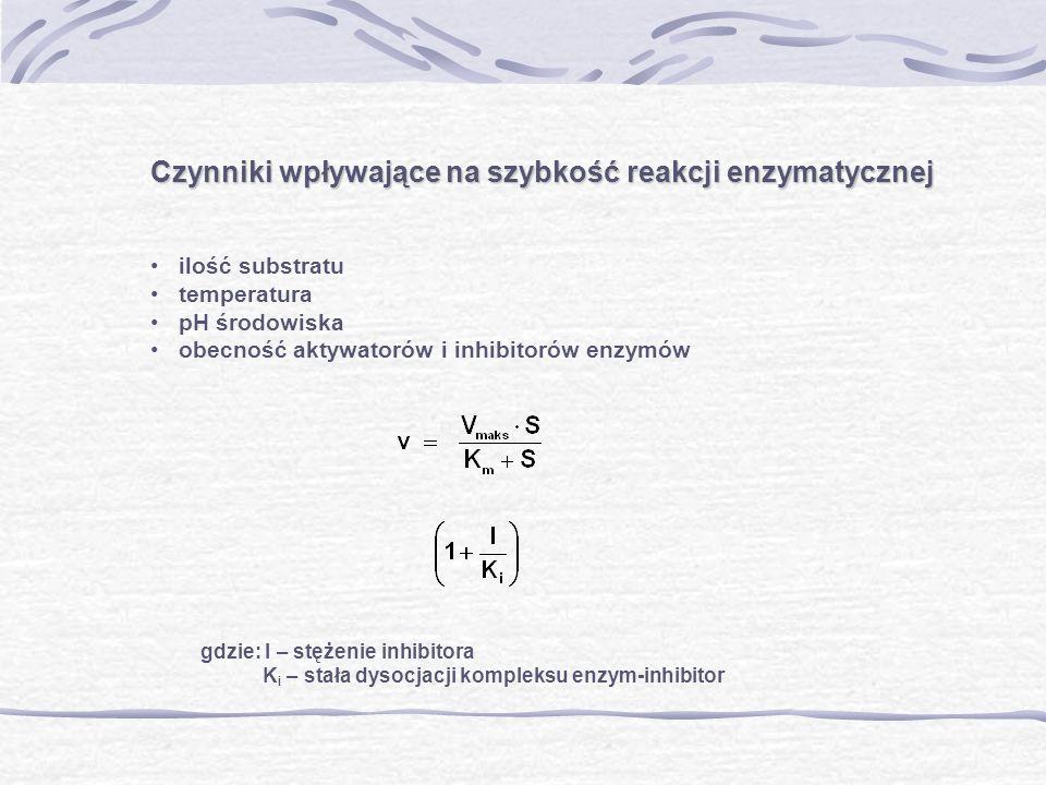 Czynniki wpływające na szybkość reakcji enzymatycznej ilość substratu temperatura pH środowiska obecność aktywatorów i inhibitorów enzymów gdzie: I –