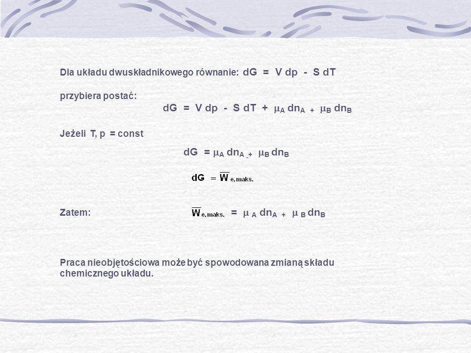 Dla układu dwuskładnikowego równanie: dG = V dp - S dT przybiera postać: dG = V dp - S dT + A dn A + B dn B Jeżeli T, p = const dG = A dn A + B dn B Z