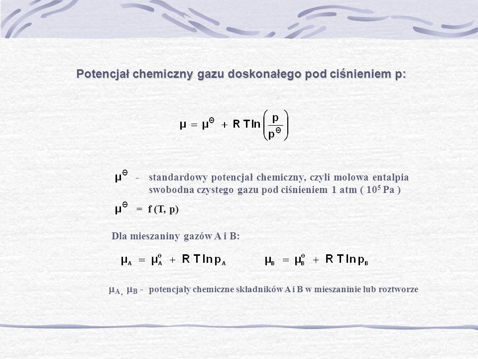 Potencjał chemiczny gazu doskonałego pod ciśnieniem p: -standardowy potencjał chemiczny, czyli molowa entalpia swobodna czystego gazu pod ciśnieniem 1