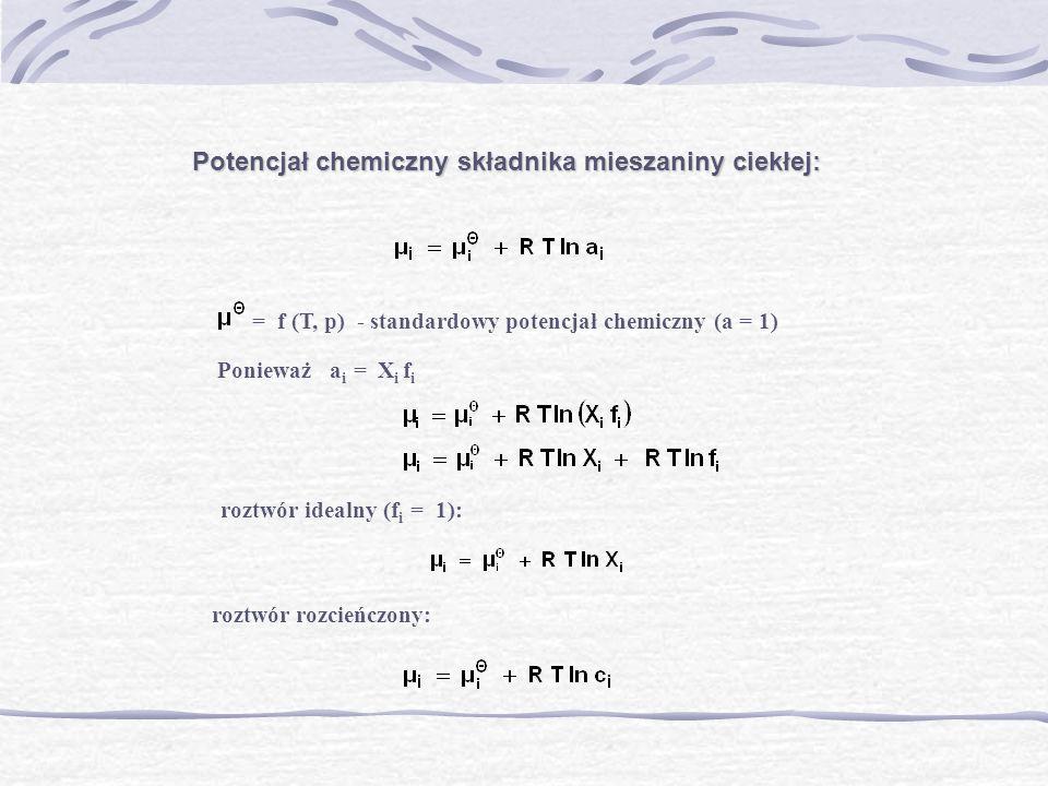Potencjał chemiczny składnika mieszaniny ciekłej: = f (T, p) - standardowy potencjał chemiczny (a = 1) Ponieważ a i = X i f i roztwór idealny (f i = 1
