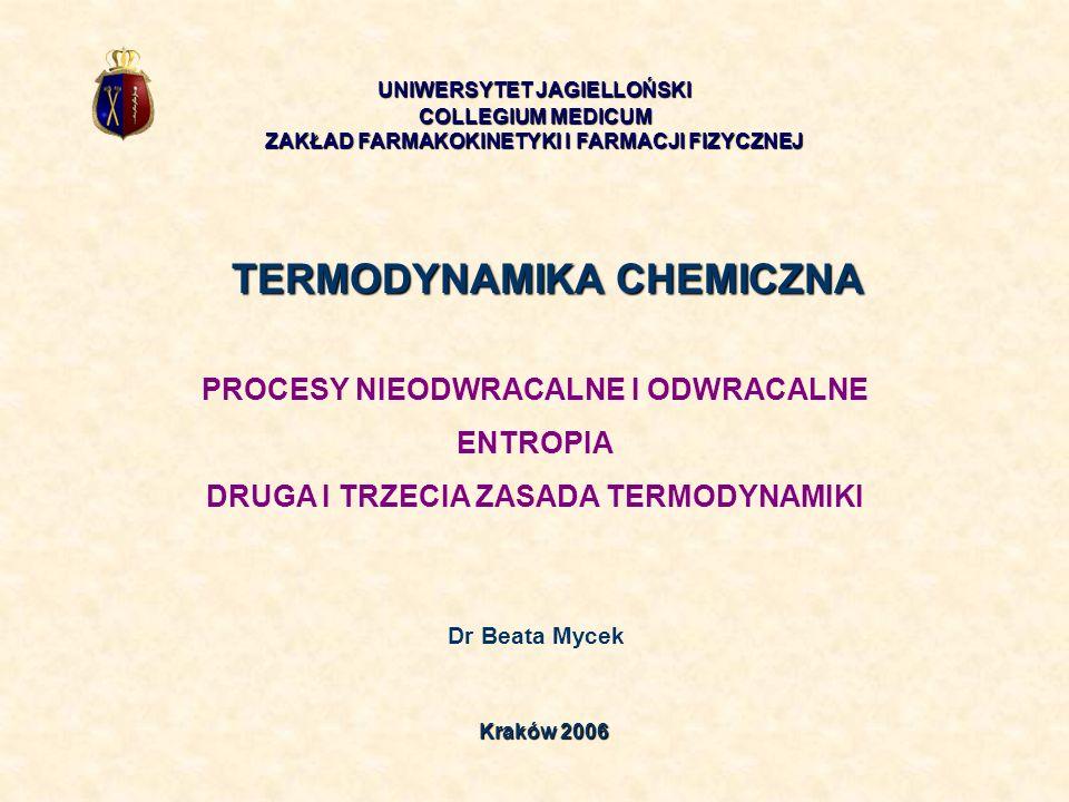 TERMODYNAMIKA CHEMICZNA Dr Beata Mycek UNIWERSYTET JAGIELLOŃSKI COLLEGIUM MEDICUM ZAKŁAD FARMAKOKINETYKI I FARMACJI FIZYCZNEJ Kraków 2006 PROCESY NIEO